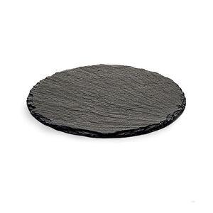 Schieferplatte rund, D:20cm, schwarz