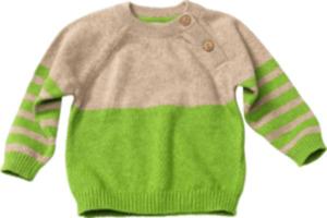 ALANA Baby-Strickpullover, Gr. 68, in Bio-Baumwolle und Schurwolle, grün, beige, für Mädchen und Jungen