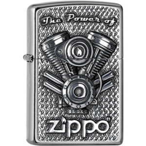 Original Zippo V-Twin        chrom gebürstet