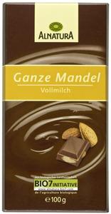 Alnatura Bio Ganze Mandel Vollmilch Schokolade 100 g