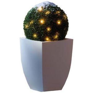 Beleuchtete Buchsbaumkugel mit LED-Lichterkette