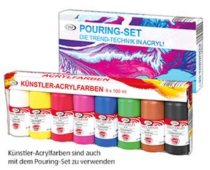 Pouring-Set oder Künstler-Acrylfarben