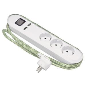 IDEENWELT USB-Dreifachsteckdose weiß/grün