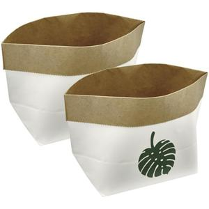 IDEENWELT 2er Set Papier-Aufbewahrungstüten weiß/braun Motiv