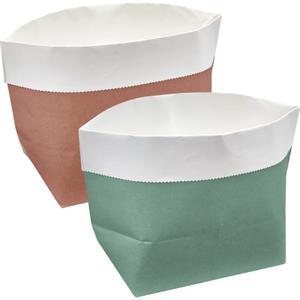 IDEENWELT 2er Set Papier-Aufbewahrungstüten mint/rosa