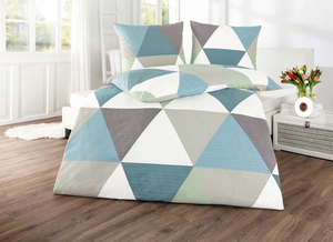 Dreamtex Renforcé-Bettwäsche 135x200cm - Bluish Triangle