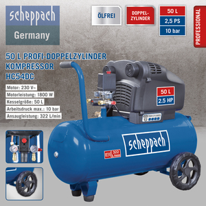 Scheppach Profi-Doppelzylinder Kompressor HC54DC