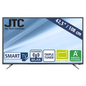 "43""-FullHD-LED-TV Atlantis 4.3N • 3 HDMI-/2 USB-Anschlüsse, CI+ • Stand-by: 0,5 Watt, Betrieb: 50 Watt • Maße: H 56,6 x B 97,1 x T 9,6 cm • Energie-Effizienz A+ (Spektrum A++ bis E)"