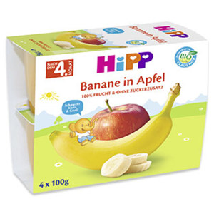 Hipp Früchte ab dem 4. Monat versch. Sorten, jede 4 x 100-g-Packung
