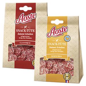 Aoste Snack-Tüte Salami-Scheiben Hähnchen oder Classique, luftgetrocknet, jede 70-g-SB-Packung