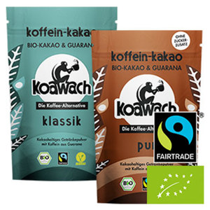 Bio koawach kakaohaltiges Getränkepulver mit Koffein aus Guarana versch. Sorten, jeder 100-g-Beutel