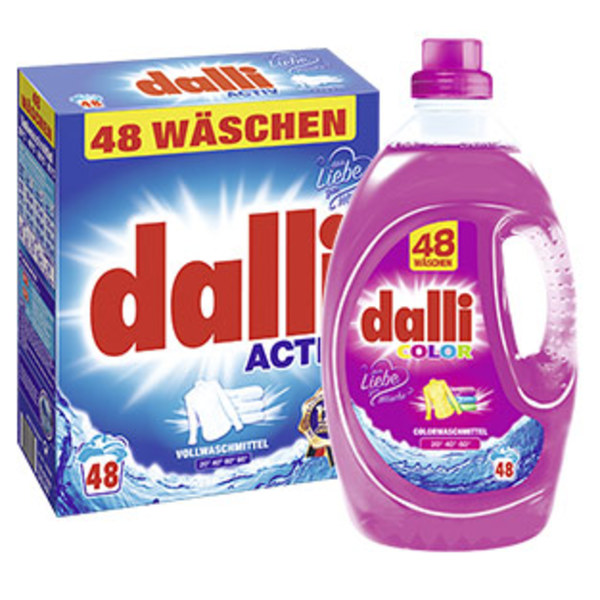 Dalli Waschmittel 48 Waschladungen, versch. Sorten, jede Packung/Flasche