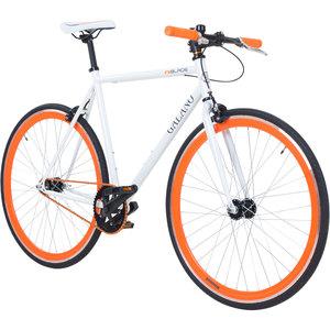 Galano Blade 700C 28 Zoll Fixie Singlespeed Bike viele Farben zur Auswahl, Rahmengrösse:53 cm, Farbe:weiss/orange