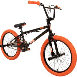 deTox Rude 20 Zoll BMX Freestyle Street Park Einsteiger Anfänger ab 140 cm Fahrrad, Farbe:schwarz/orange