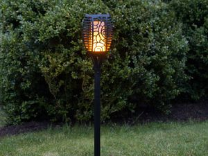 LED Solar Fackel Flame, Schwarz, rund, mit moving Flame Funktion