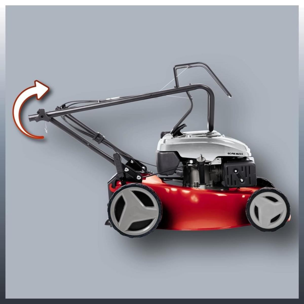 Bild 2 von Einhell GC-PM 46/3 S 34.007.27 Handgeführter Rasenmäher, 4-Takt Benzinmotor, 46cm Schnittbreite, Radantrieb, Grasfang hinten, Schwarz/Rot