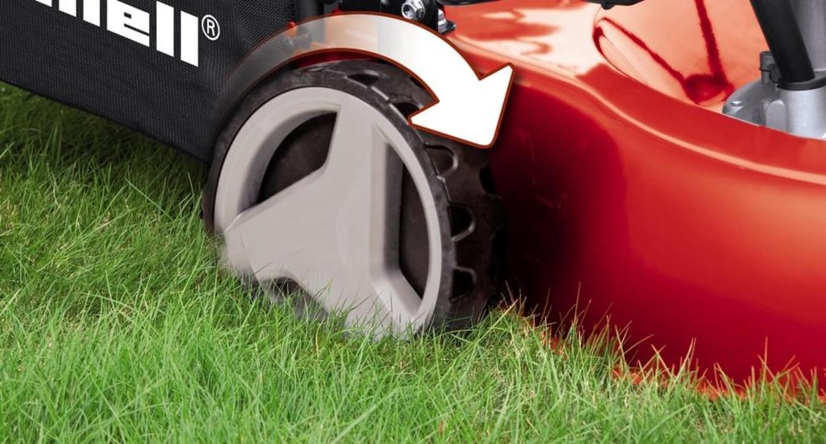 Bild 4 von Einhell GC-PM 46/3 S 34.007.27 Handgeführter Rasenmäher, 4-Takt Benzinmotor, 46cm Schnittbreite, Radantrieb, Grasfang hinten, Schwarz/Rot