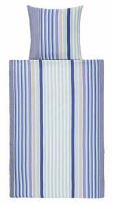 Villa Noblesse Microfaser-Seersucker-Bettwäsche 135 x 200 cm, Streifen Blau/Weiß