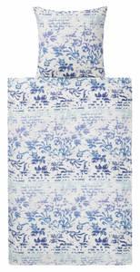 Villa Noblesse Microfaser-Seersucker-Bettwäsche 155 x 220 cm, filigranes Muster Blau/Weiß