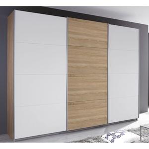 Schwebetürenschrank Kulmbach Eiche Dekor/Absetzungen Weiß ca. 271 x 211 x 62 cm
