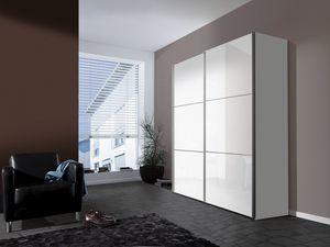 Express Möbel Schwebetürenschrank Bianco 2-türig in Weiß Dekor mit Lackweiß