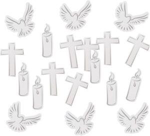 Motivkonfetti/Streudeko christlich Taube-Kerze-Kreuz, 24-tlg.