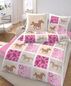 Pferdebettwäsche, Kinderbettwäsche Pferde, Biber, rosa, 135 x 200 cm