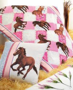 Pferdebettwäsche, Kinderbettwäsche Pferde, Biber, rosa-blau, 135x200 cm Gr. 135 x 200