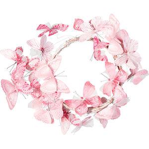 Textilschmetterling Kranz, rosa, ca. 30 cm