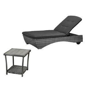 Gartenmöbel-Set Colombo (1 Sonnenliege, 1 Tisch, mit Auflage, grau)