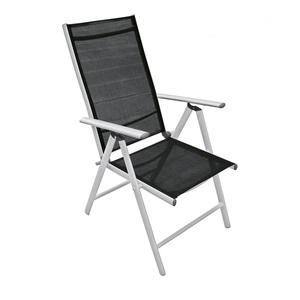 Verstellbarer Multipositionsstuhl /Gartenstuhl KAEN Aluminium Silbergrau/Textilene Schwarz