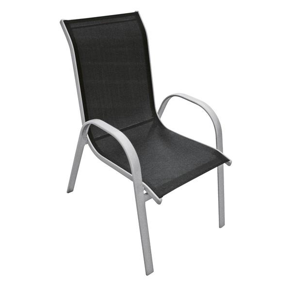 Hochlehner Stapelstuhl bis 120 kg KHAI Stahl Silberfarbig/Outdoorgewebe Schwarz