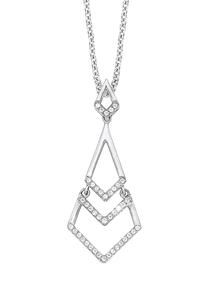 Damen Halskette 925 Silber Zirkonia