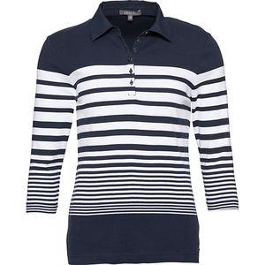 Adagio Damen Poloshirt, 3/4-Arm, gestreift