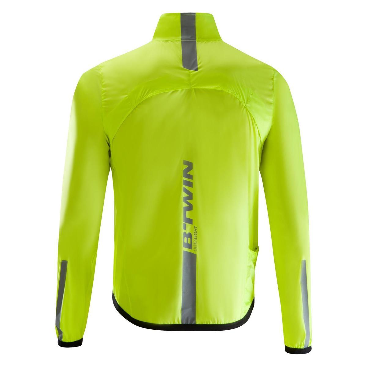 Bild 2 von Fahrrad-Windjacke Langarm Rennrad Ultralight Herren neongelb