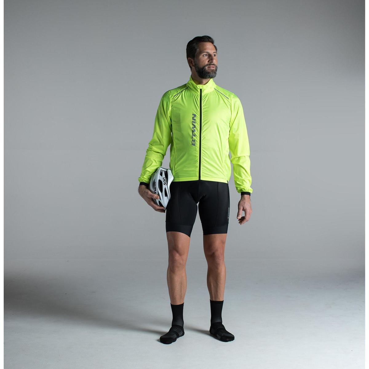 Bild 3 von Fahrrad-Windjacke Langarm Rennrad Ultralight Herren neongelb
