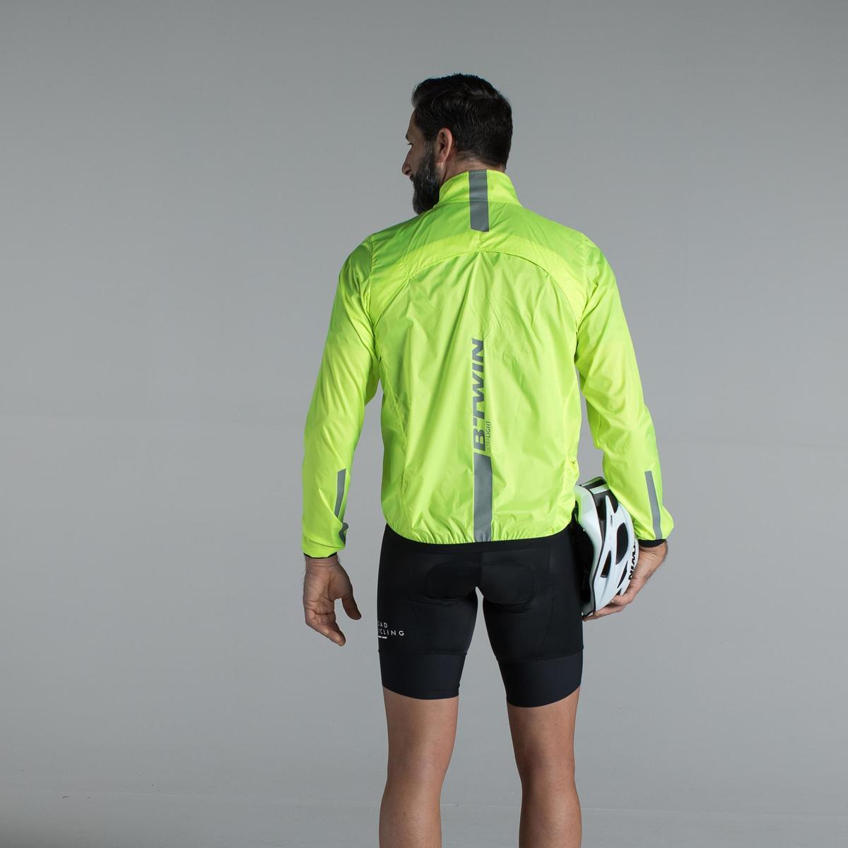 Bild 4 von Fahrrad-Windjacke Langarm Rennrad Ultralight Herren neongelb