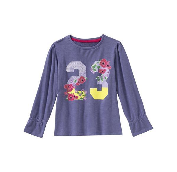 Kids Mädchen-Shirt mit Zahlen-Frontaufdruck