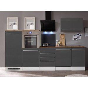 Respekta Premium Küchenzeile 290 cm Grau-Weiß