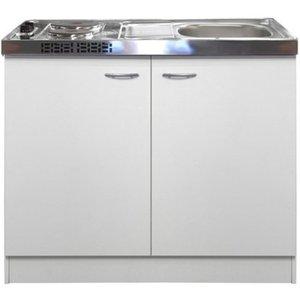 Flex-Well Classic Miniküche Wito 100 cm mit Pantryauflage Weiß