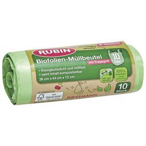 RUBIN Biofolien-Müllbeutel mit Tragegriff 10 l