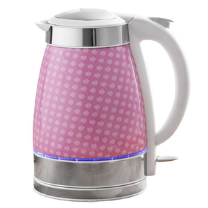 Powertec Kitchen LED-Keramik-Wasserkocher - Rosa Blumenmuster