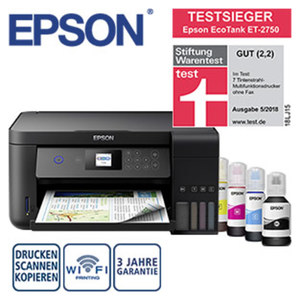 EcoTank ET-2750 · großvolumiger Tintentank, keine Patronen · randloses u. doppelseitiges Drucken
