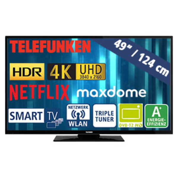 49 Ultra HD LED TV D49U297N4CWH HbbTV 1200 Hz Technik 3 HDMI 2 USB Anschlusse CI Stand By 05 Watt Betrieb 69 Masse H 653 X B 1112 T 93