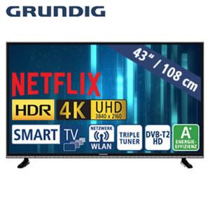 "43""-Ultra-HD-LED-TV 43 VLX 600 HbbTV, 3 HDMI-/ 2 USB-Anschlüsse, CI+, Stand-by: 0,45 Watt, Betrieb: 55,1 Watt, Maße: H 57,5 x B 97,5 x T 8,5 cm, Energie-Effizienz A+ (Spektrum A++ bis E)"
