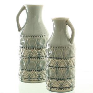 Dragimex, Deko-Vase, eisblau, 15 Ø x 36 cm H, 57324