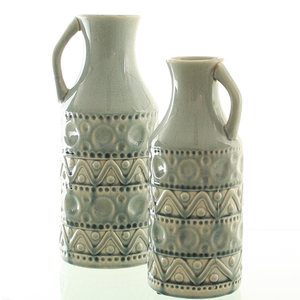 Dragimex, Deko-Vase, eisblau, 13 Ø x 31 cm H, 57323