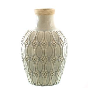 Dragimex, Deko-Vase, creme/grau, 20 Ø x 28,5 cm H, 57326