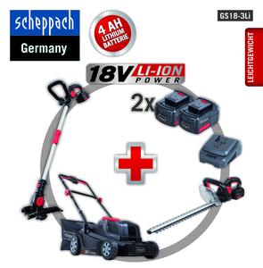 Scheppach GS18-3Li 18V Akku Garten Set Rasenmäher Trimmer Heckenschere