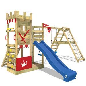 Spielturm WICKEY Smart Crown Garten Kinder Kletterturm Stelzenhaus Outdoor Garten Klettergerüst Ritterburg